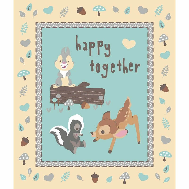 Disney Bambi and Friends Happy Together Panel 100% Cotton Patchwork Fabric