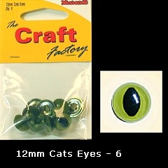 The Craft Factory Cat Eyes Pack Of 6 12mm