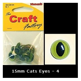 The Craft Factory Cat Eyes Pack Of 4 15mm