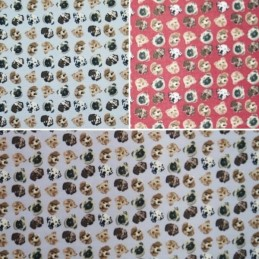 Little Puppy Dog Tilted Heads 100% Cotton Fabric (Fabric Freedom)