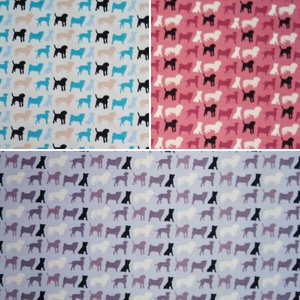 Doggy Multi Coloured Dog Breeds Silhouettes 100% Cotton Fabric (Fabric Freedom)
