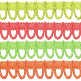 2m, 5m, 10m or 25m Rouleau Loop Neon Fringe 14mm Upholstery Fringing