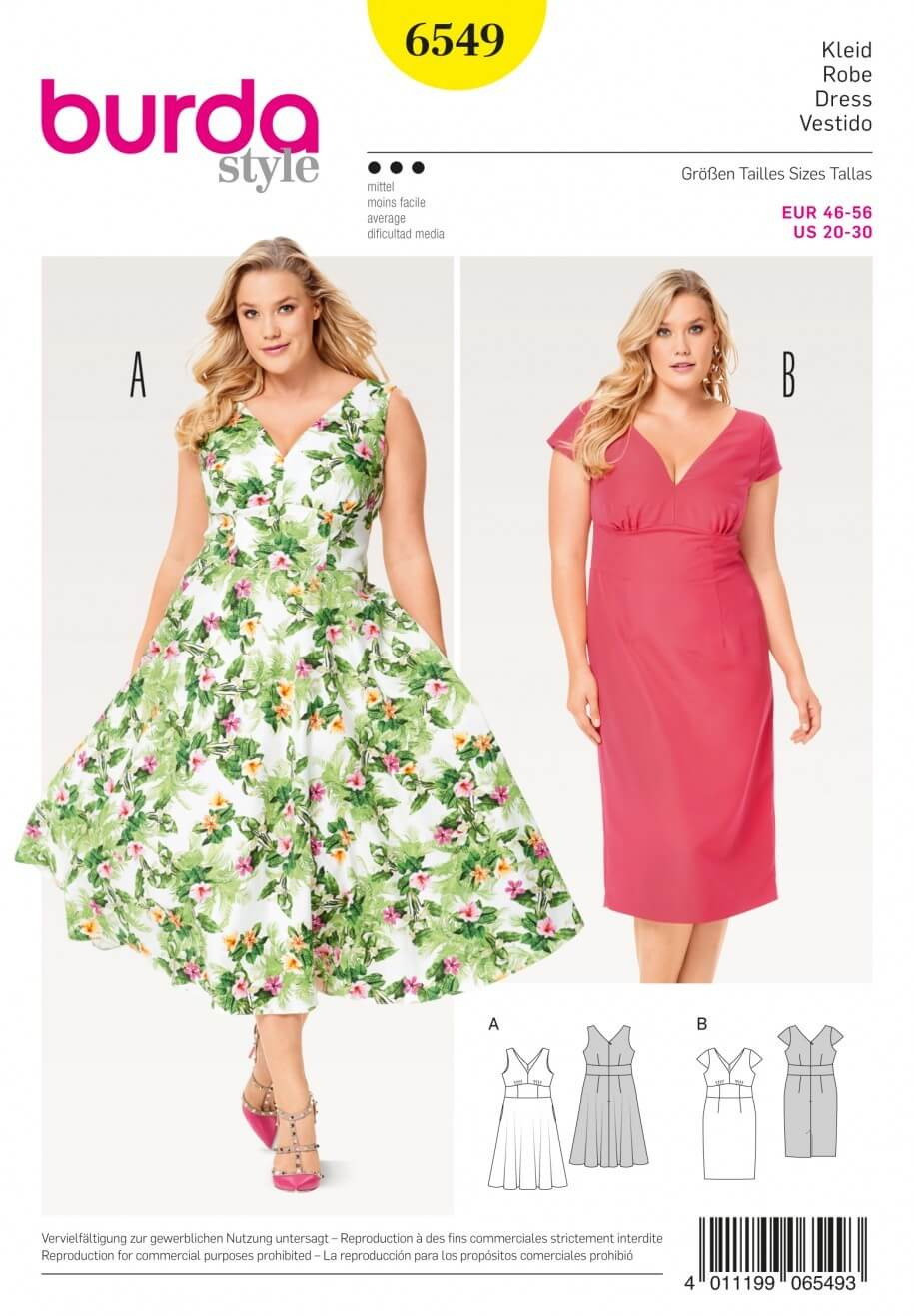 Burda Style Misses Short Sleeve Summer Dress Sewing Pattern 6549