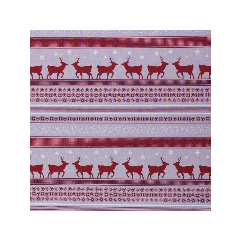 Christmas Reindeer Doe & Hearts In Rows 100% Cotton Linen Look Upholstery Fabric