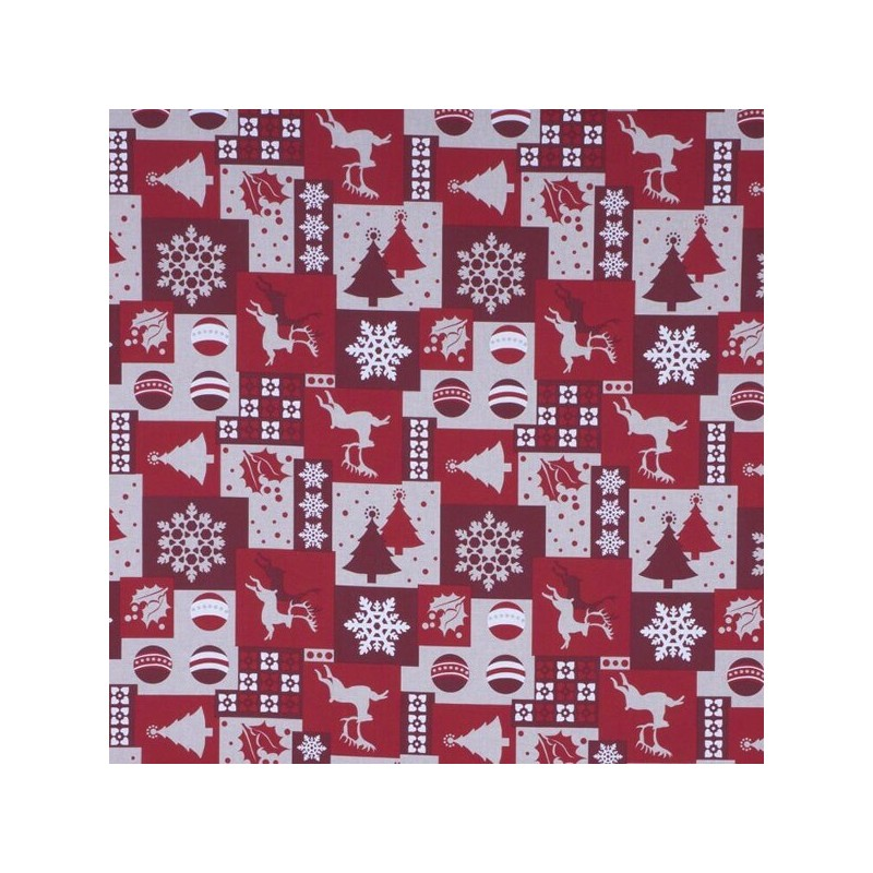 Patchwork Reindeer Bauble & Snowflake 100% Cotton Linen Look Upholstery Fabric