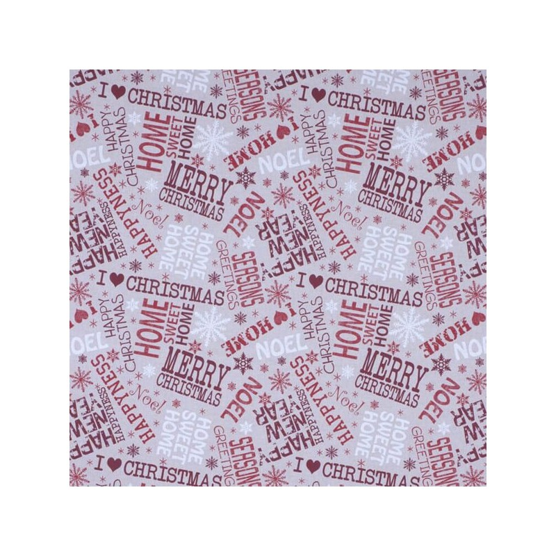 Merry Christmas Tossed Words Noel 100% Cotton Linen Look Upholstery Fabric