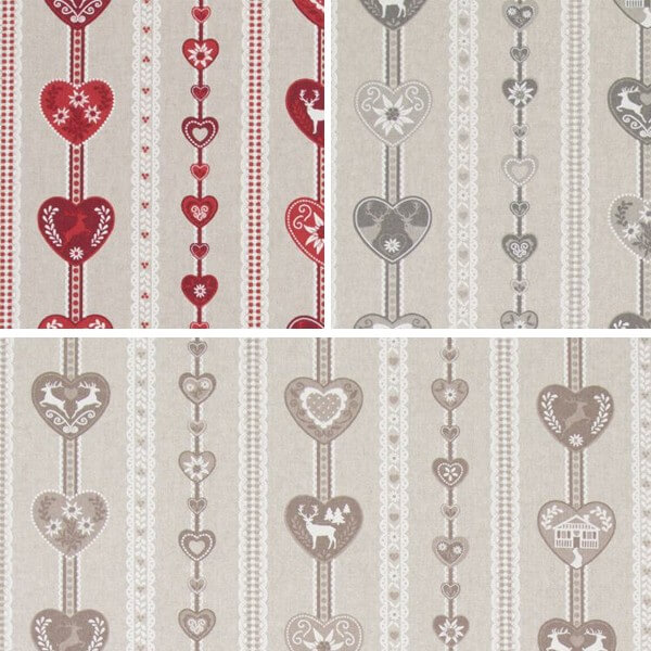 Scandinavian Heart Stripes Reindeer 100% Cotton Linen Look Upholstery Fabric