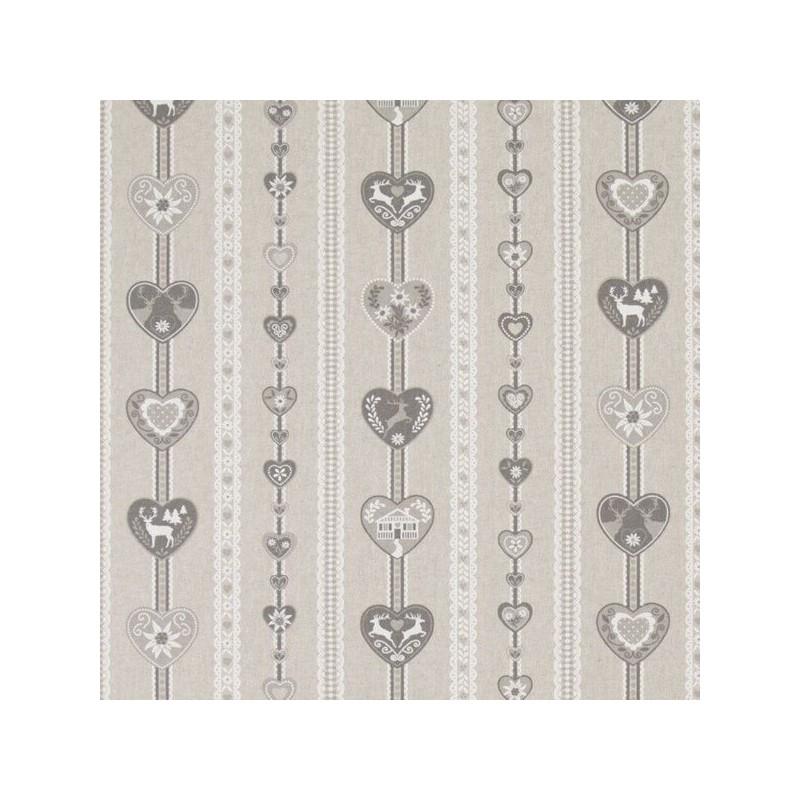 Scandinavian Heart Stripes Reindeer 100% Cotton Linen Look Upholstery Fabric