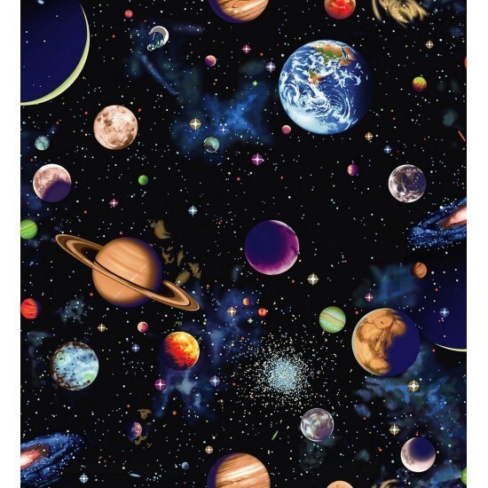 100% Cotton Fabric Nutex Planets Of The Universe Solar System Stars Space