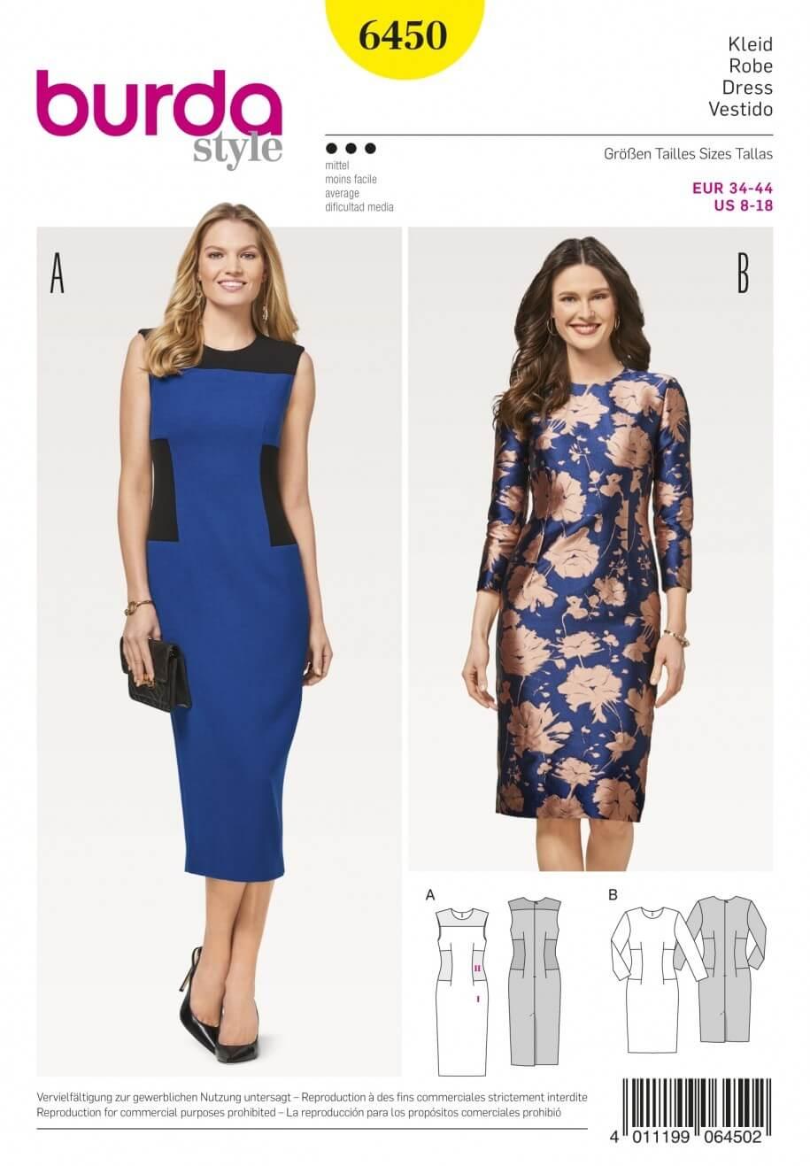 Burda Women's Side Panel Sheath Pencil Dress Smart Sewing Pattern 6450