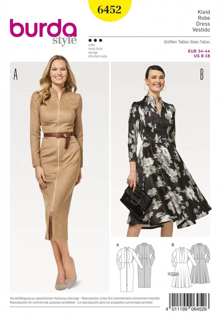 Burda Women's High Collar Pencil or Flare Dresses Sewing Pattern 6452