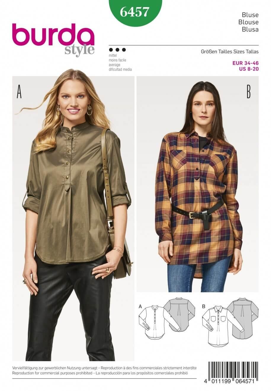 Burda Women's Shirt Blouses Smart Casual Workwear Sewing Pattern 6457