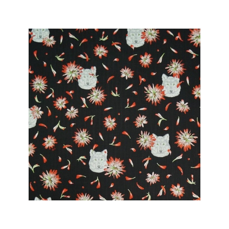 Indian Paintbrush Wolves Floating Petals Flowers 100% Cotton Fabric Patchwork