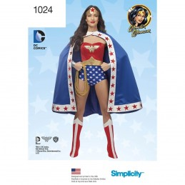 Women's DC Comics Wonder Woman Costume Cosplay Simplicity Sewing Pattern 1024