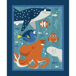 Disney Pixar Finding Dory Panel Nemo Hank Marlin 100% Cotton Patchwork Fabric