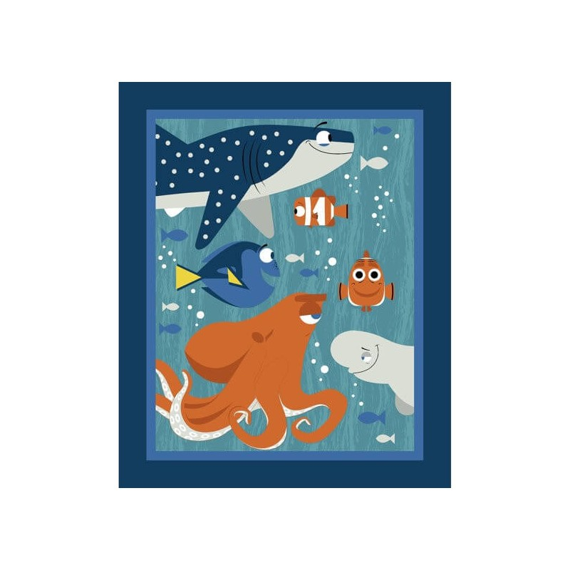 Disney Pixar Finding Dory Panel Nemo Hank Marlin 100% Cotton Patchwork Fabric