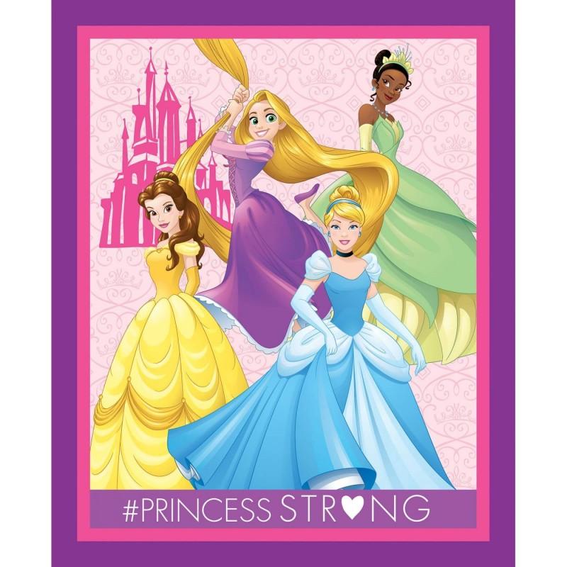 100% Cotton Fabric Disney Princess Belle Cinderella Rapunzel Tiana Panel