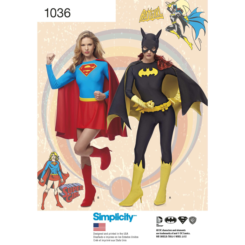 DC Comics Girls Supergirl Batgirl Costumes Simplicity Sewing Pattern 1036