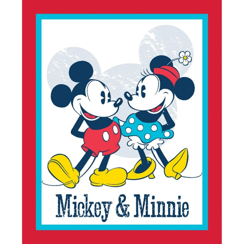 Disney Vintage Classic Mickey and Minnie Panel 100% Cotton Patchwork Fabric