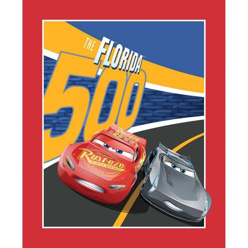 Disney Pixar Cars 3 Florida 500 Racetrack Panel 100% Cotton Patchwork Fabric