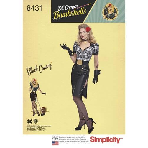 DC Comics Bombshell Black Canary Costume Simplicity Pattern 8431