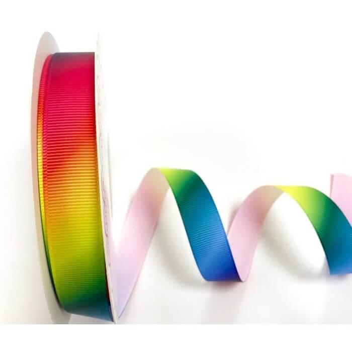 16mm Bertie's Bows Rainbow Print Polyester Grosgrain Craft Ribbon