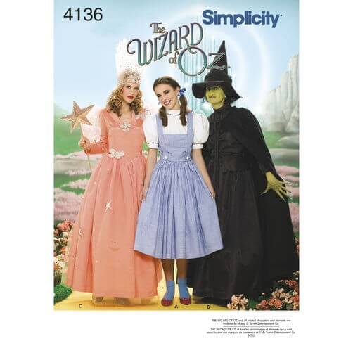 The Wizard of Oz Dorothy Wicked Witch & Glinda Costumes 4136 Simplicity Pattern