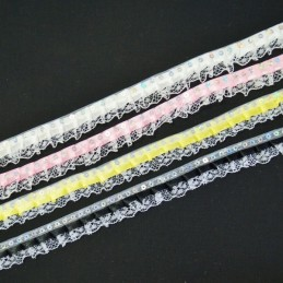 2m, 5m or 10m Sequin Top 10mm Satin Lace Edge Trim Multiple Colours