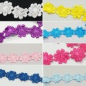 1 Metre 25mm Daisy Chain Embroidered Flowers Ribbon Trim Craft Accessories