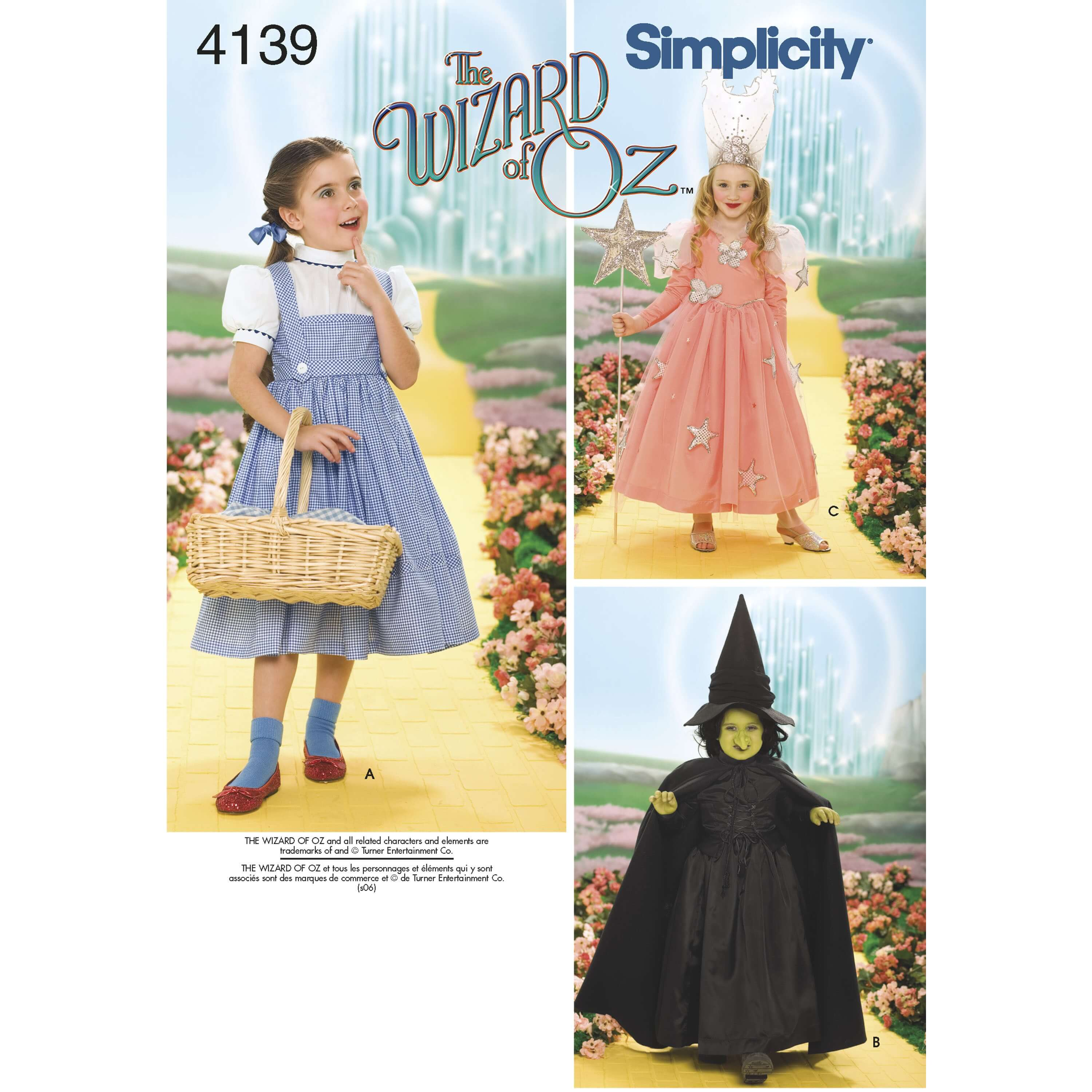 Child's The Wizard of Oz Witch Costumes 4139 Simplicity Dress Pattern