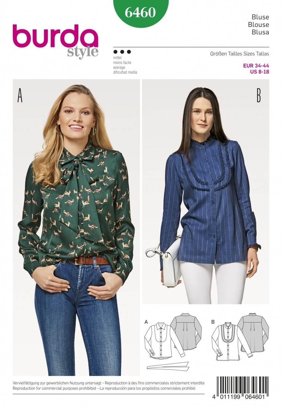 Burda Style Women's Collared Shirt Blouse Dress Sewing Pattern 6460