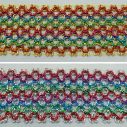 1 Metre 50mm Metallic Multi Colour Weave Flat Braid Trim Craft Accessories