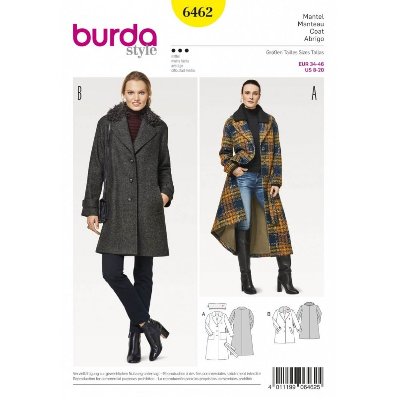 Burda Style Women\'s Fur Collar Blazer Coat Dress Sewing Pattern 6462