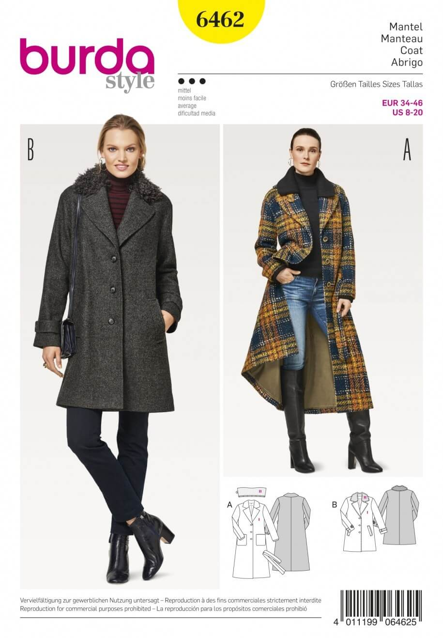 Burda Style Women's Fur Collar Blazer Coat Dress Sewing Pattern 6462