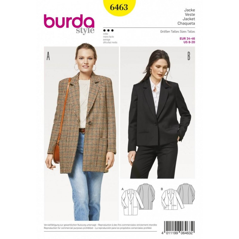 Burda Style Women\'s Chic Casual Blazer Jacket Dress Sewing Pattern ...
