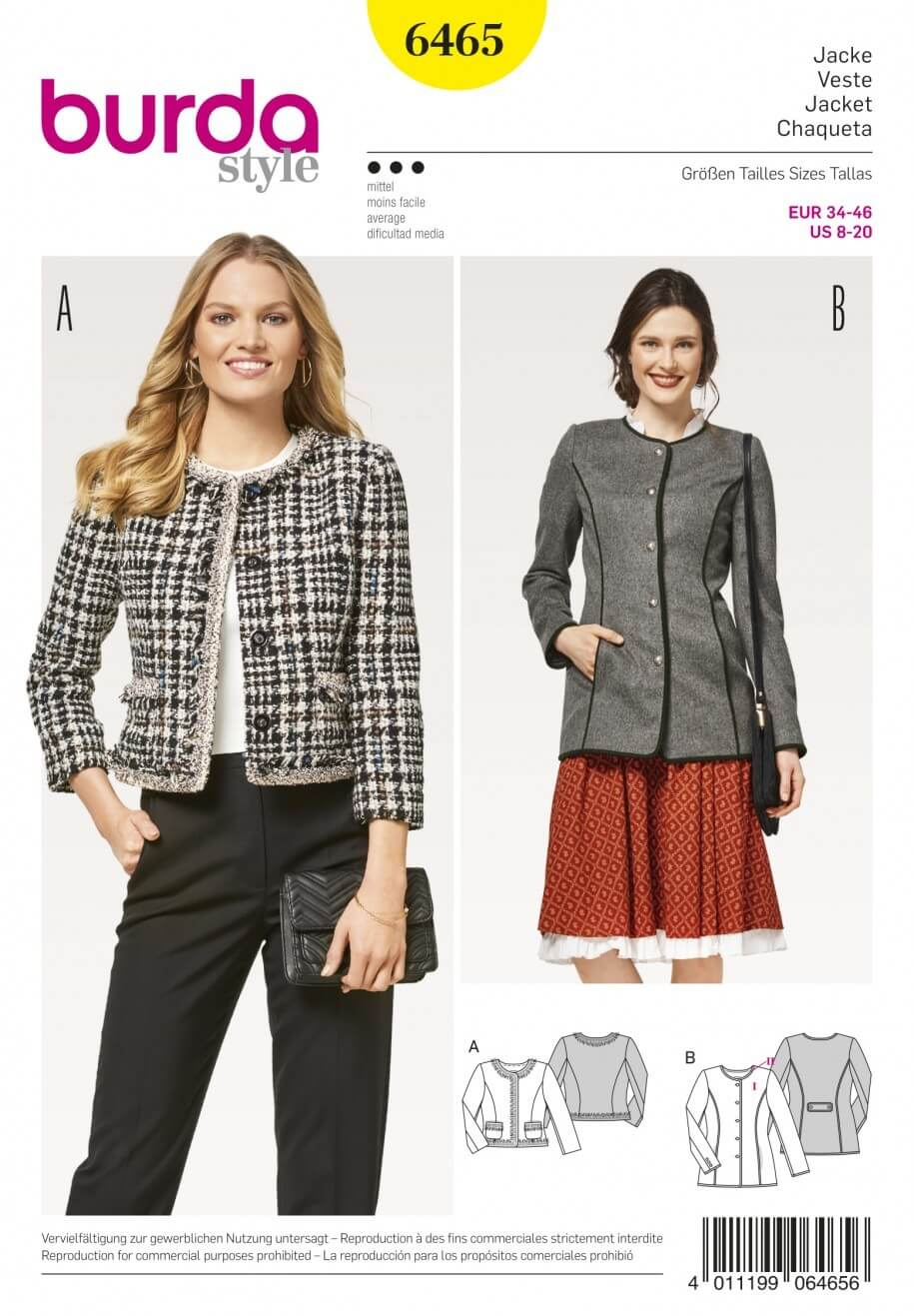 Burda Style Women's Collarless Jacket Coat Sewing Pattern 6465