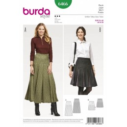Burda Style Women's Pleated Skirt with Waistband Dress Sewing Pattern 6466