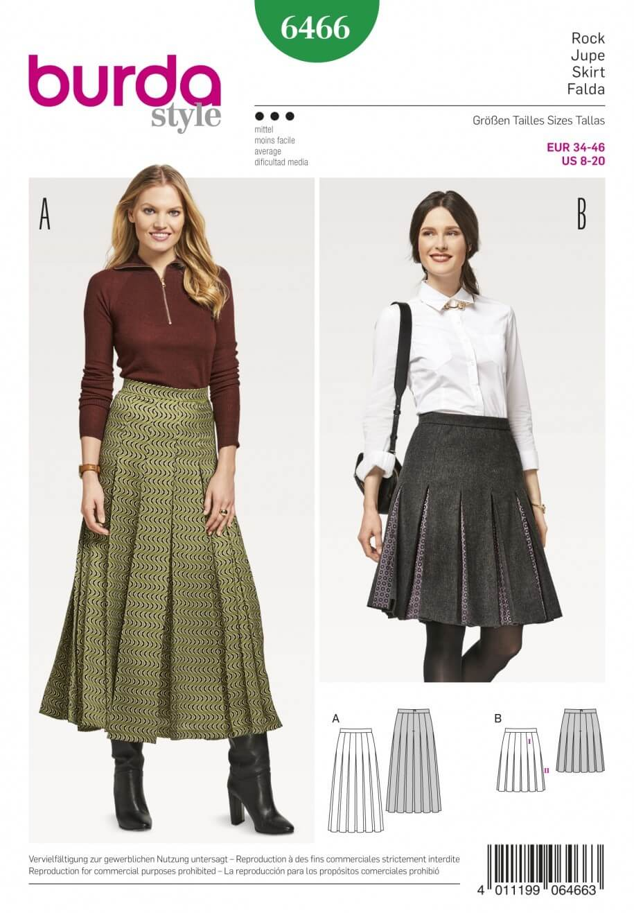 Burda Style Women's Pleated Skirt with Waistband Dress Sewing Pattern 6466