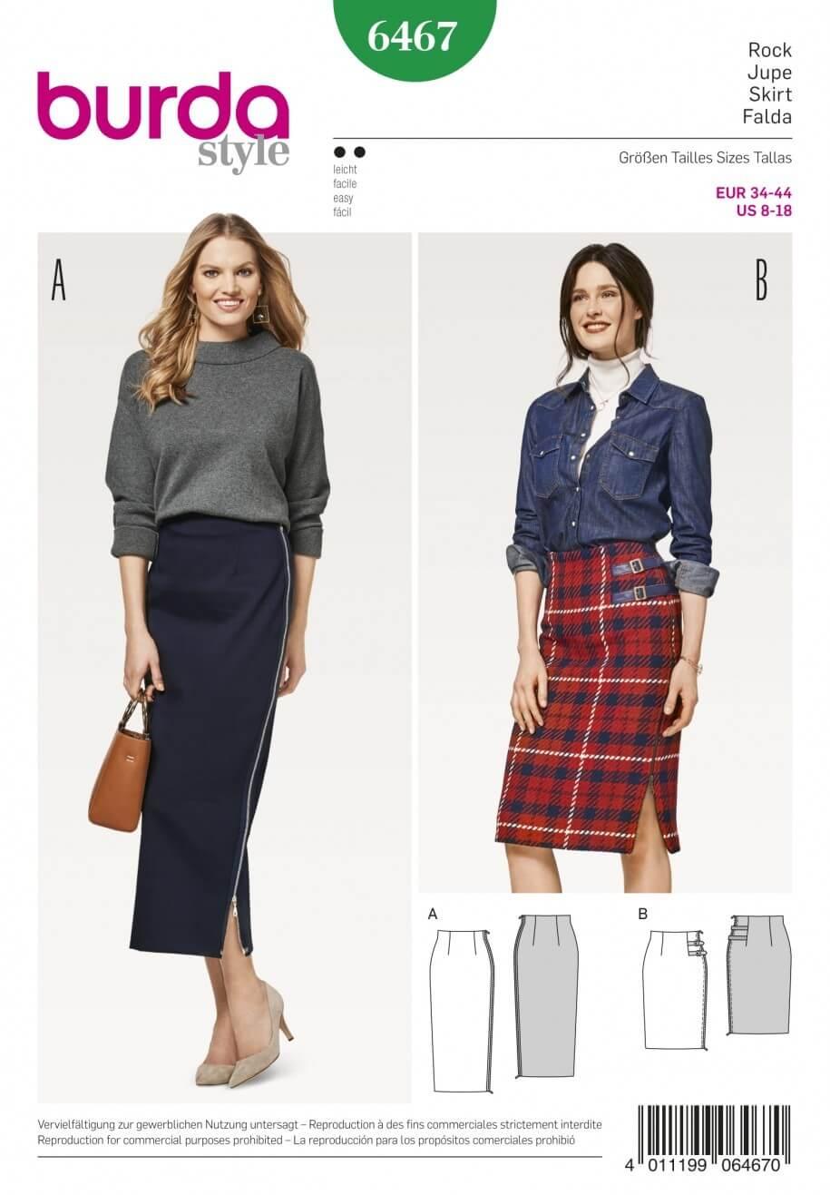 Burda Style Women's High Waisted Skirt Dress Sewing Pattern 6467
