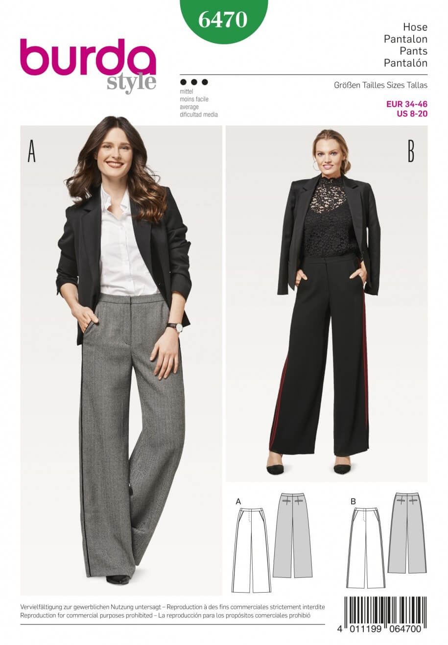 Burda Style Women's Trousers Lily Marlene Dress Sewing Pattern 6470