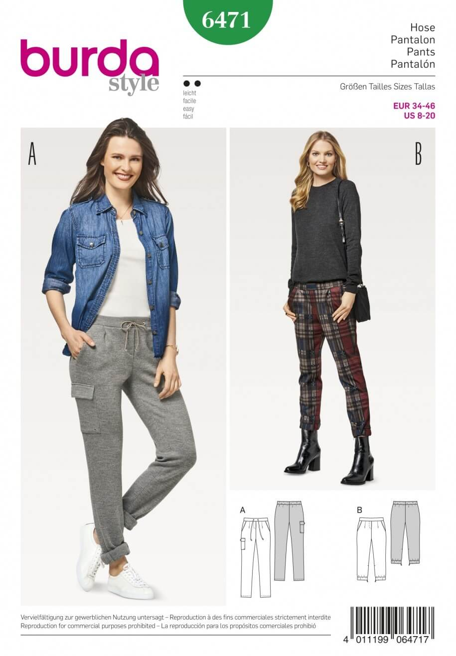 Burda Style Women's Super Comfortable Trousers Dress Sewing Pattern 6471