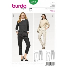 Burda Style Women's Smart Casual Pleated Trousers Dress Sewing Pattern 6472