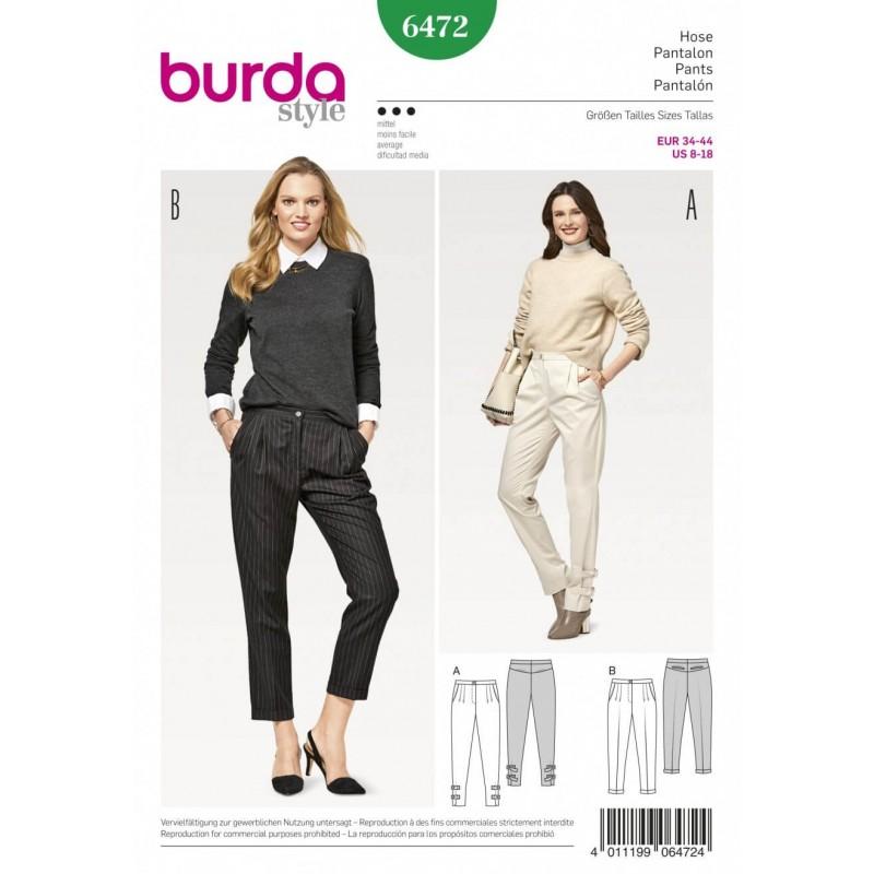 Burda Style Women's Smart Casual Pleated Trousers Dress Sewing Pattern 6472