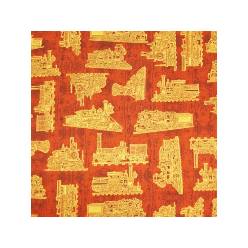 Full Steam Ahead Trains Outlines Print 100% Cotton Patchwork Fabric (Northcott)
