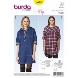 Burda Style Women's Hooded Casual Dress Sewing Pattern 6475