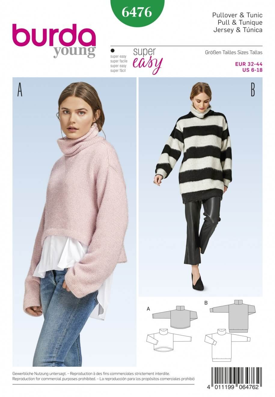 Burda Style Women's Pullover Collared Jumper Top Dress Sewing Pattern 6476