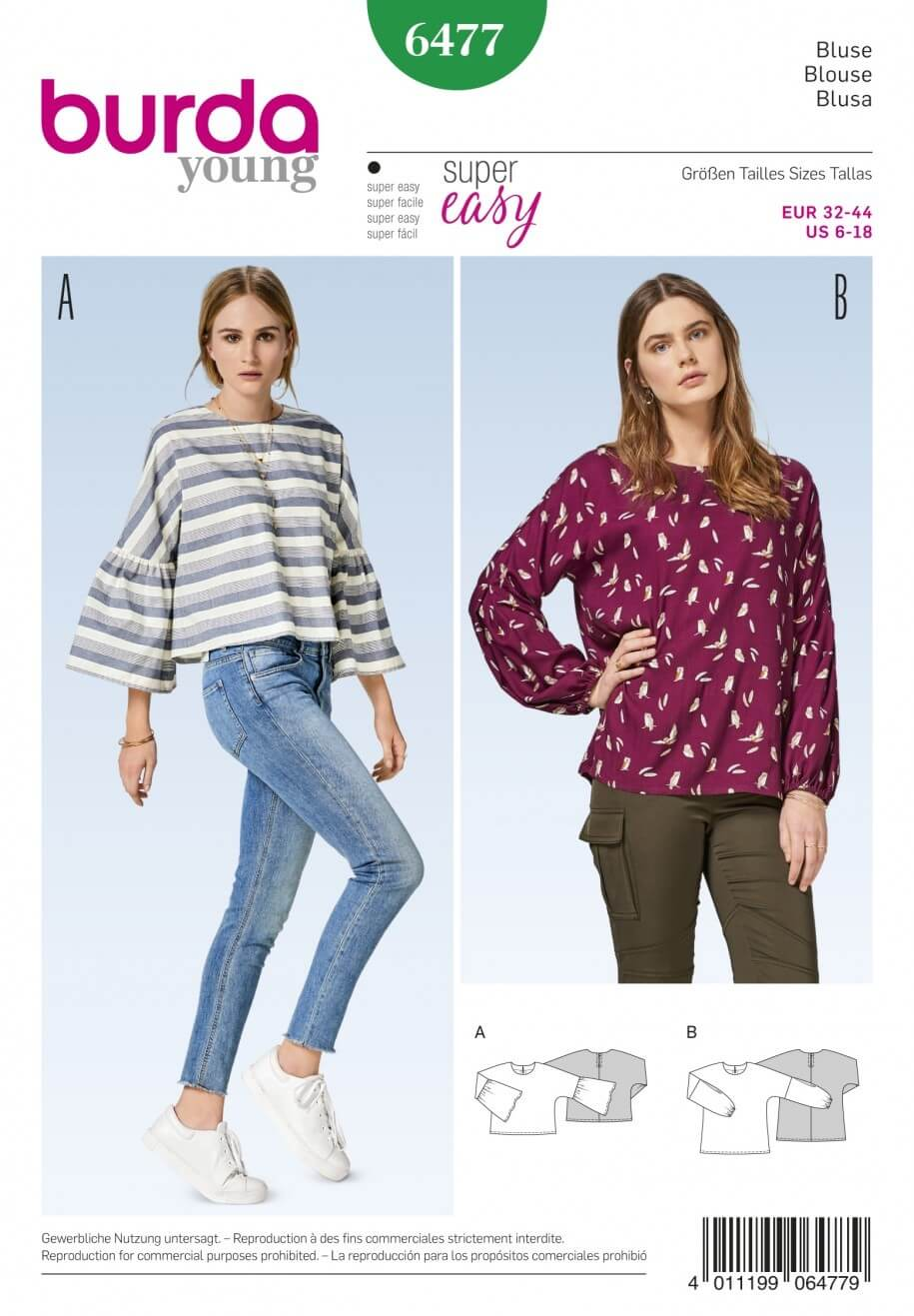 Burda Style Women's Long Sleeve Loose Fit Top Dress Sewing Pattern 6477