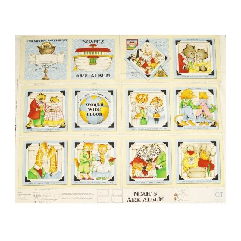 Storybook Noah's Ark Panel 100% Cotton Patchwork Fabric (Quilting Treasures)