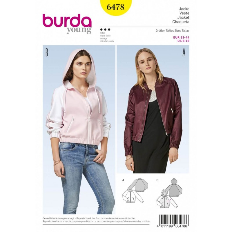 Burda Style Women\'s Bomber Jacket With Optional Hood Sewing Pattern...
