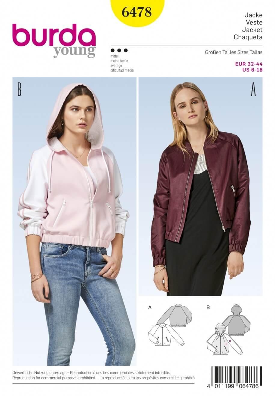 Burda Style Women's Bomber Jacket With Optional Hood Sewing Pattern 6478